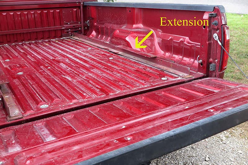 rails in truck with the extensions folded forward