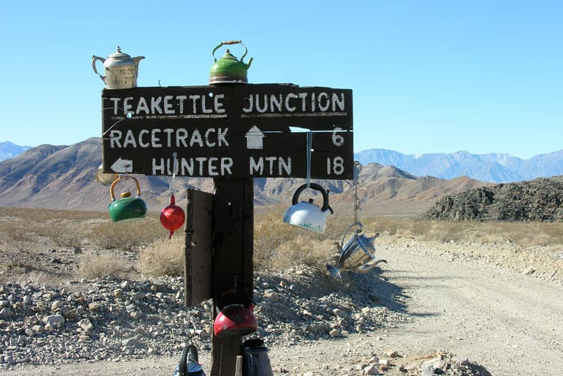 Teakettle Junction with teapots Death Valley