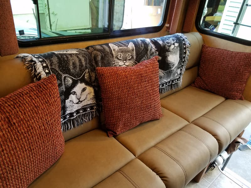 New Thomas Payne Sofa in camper dinette area