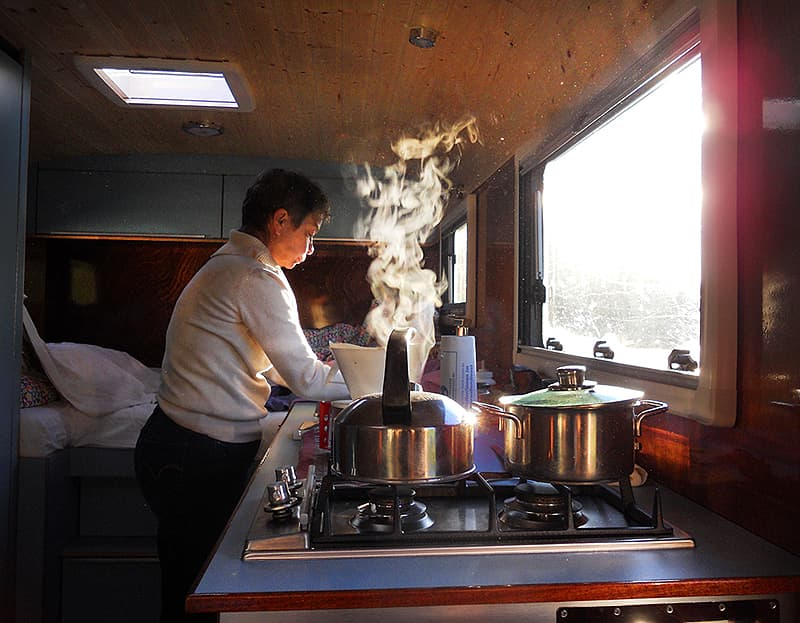 Cooking in the Tonke Camper