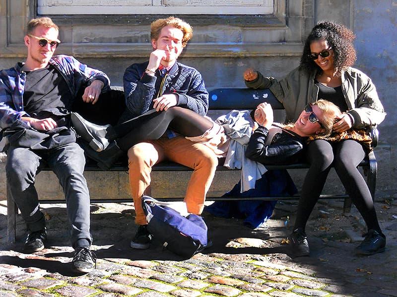 Danish students outside the design museum in Copenhagen