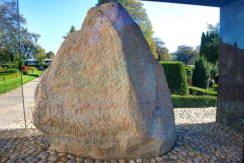 Denmark Jelling stones, two massive carved runestones from the 10th century