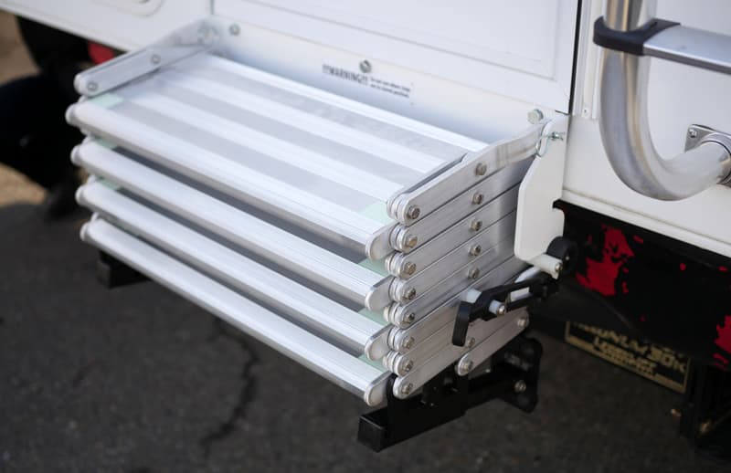 Steps stay on camper during travel