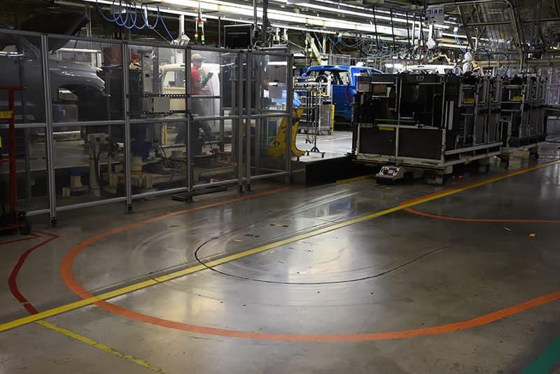 Robots following tracks on floor