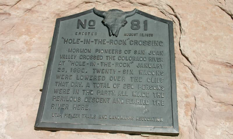 Cottonwood Trail Marker for the Mormon Route to the Hole in the Rock Road in Escalante, Utah
