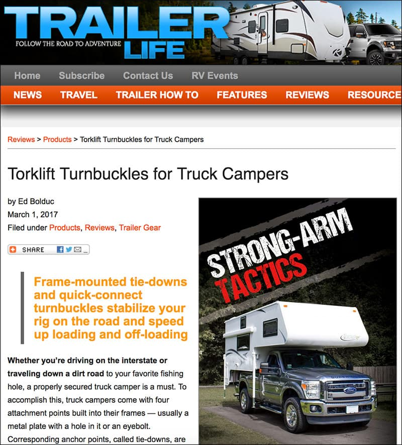 Trailer Life, Torklift turnbuckle article