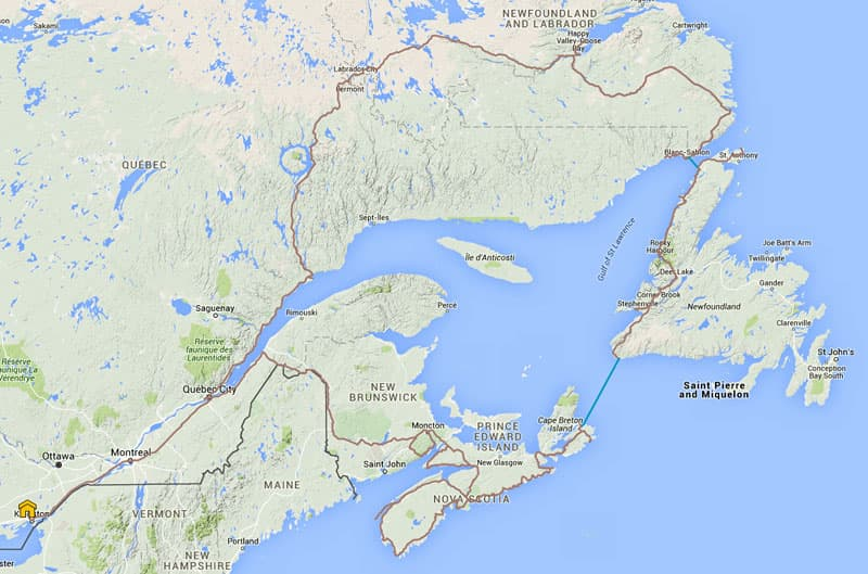 Trans-Labrador-Highway Trip and Map