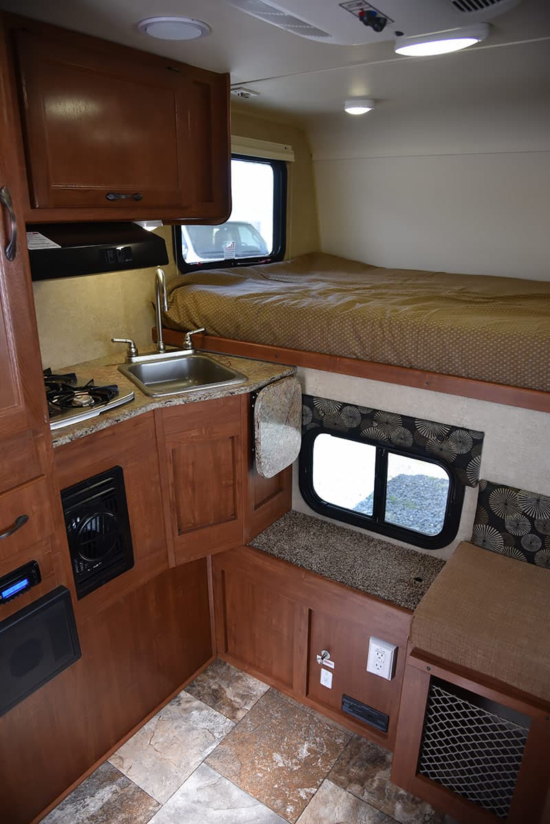 Travel Lite 625 kitchen and overcab