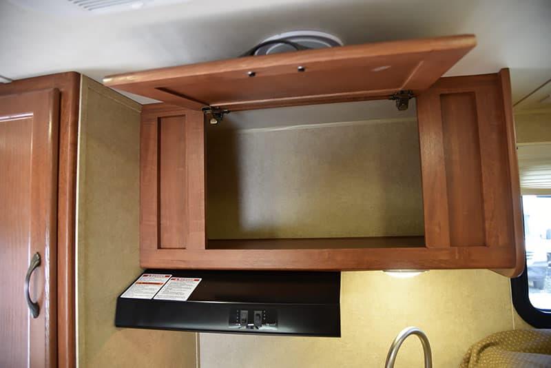 Travel Lite 625 kitchen storage above stove