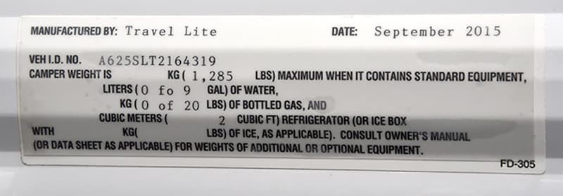 Travel Lite 625 base weight sticker
