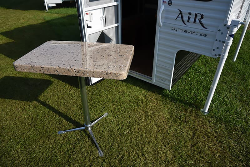 Travel Lite removable table outside