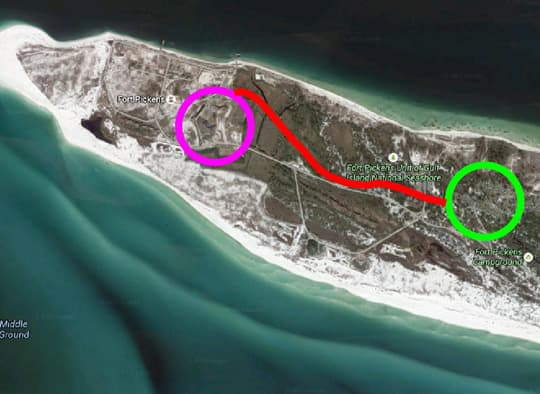 Florida-Fort-Pickens-satellite-drawing