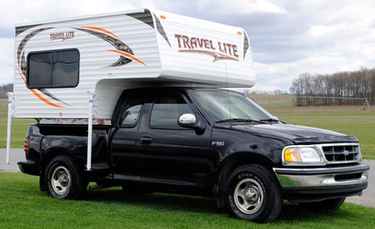 Travel Lite 625 lightweight truck camper mounted on a half ton