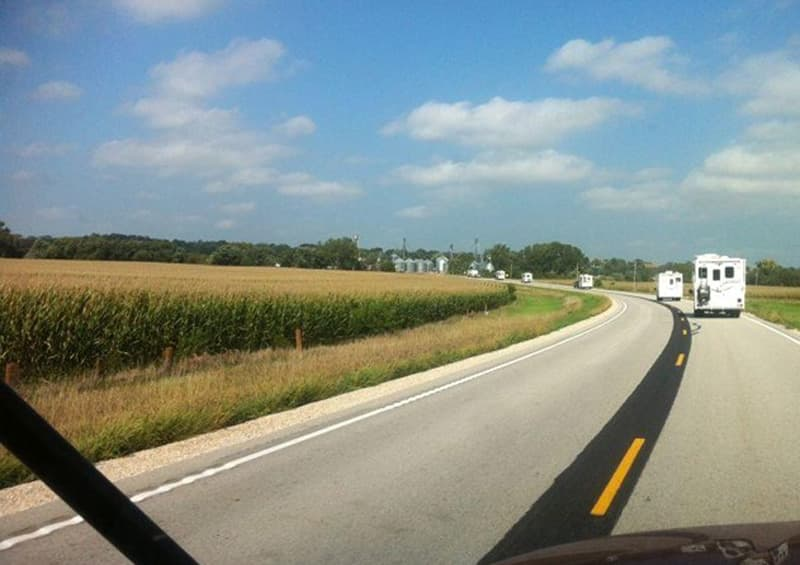 Truck Campers Driving in Iowa