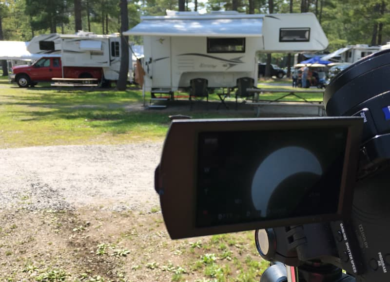 Truck Campers eclipse on video camera screen