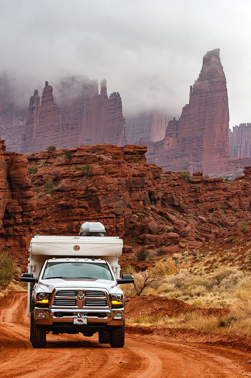 Fisher Towers Utah with a Hallmark pop-up camper