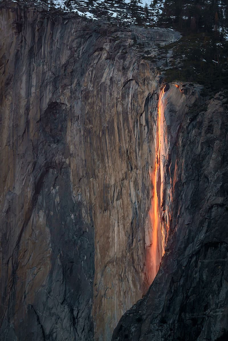Horsetail Falls in Yosemite National Park, California