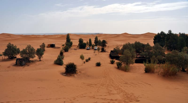 Truck camping in the Sahara desert