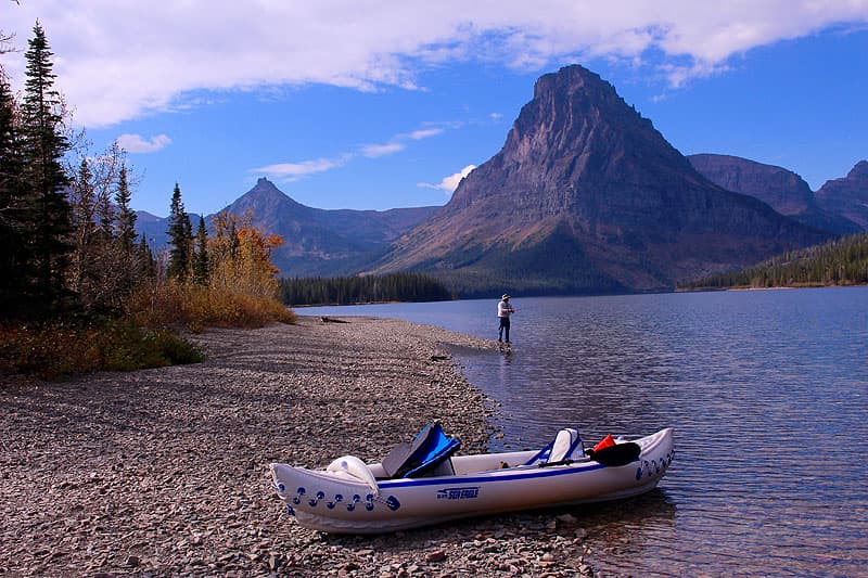Two Medicine Lake with a kayak