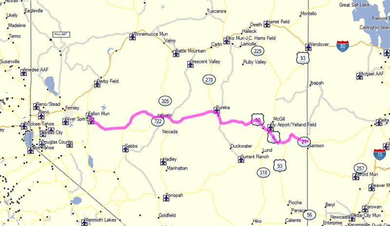 US50 Nevada Map