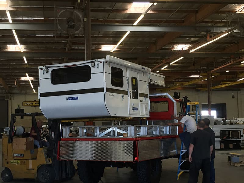 Loading the camper at Four Wheel in California