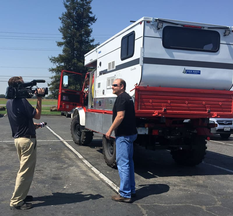 Unimog camper interview for television