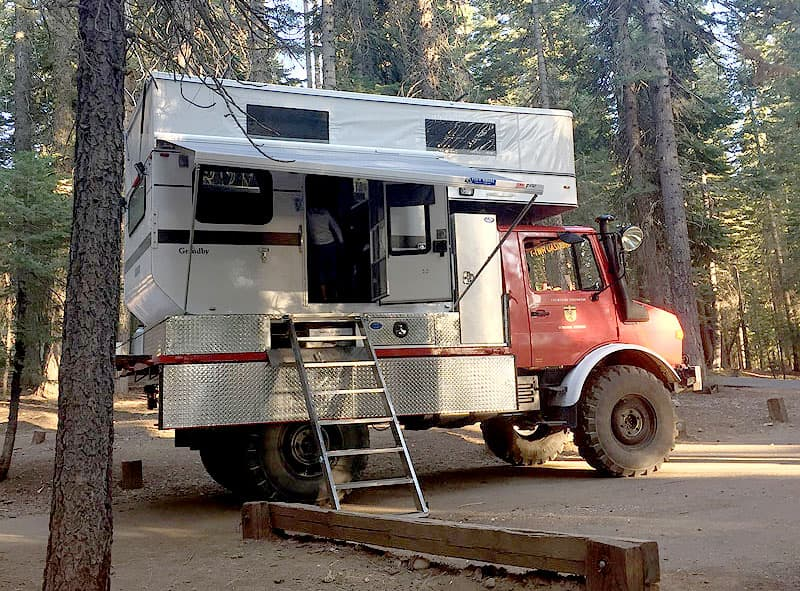 Ladder system for Unimog truck camper