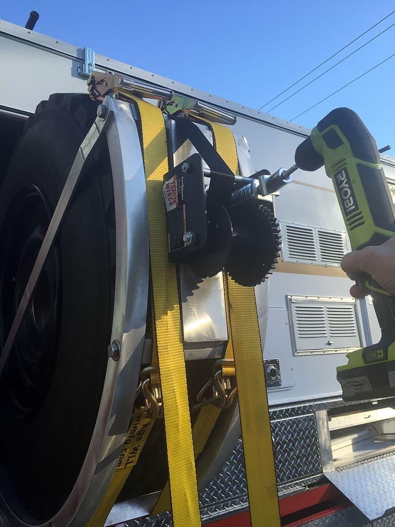 Spare tire winch modification