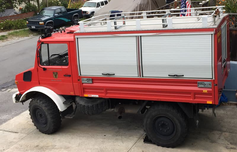 Unimog truck before flatbed conversion