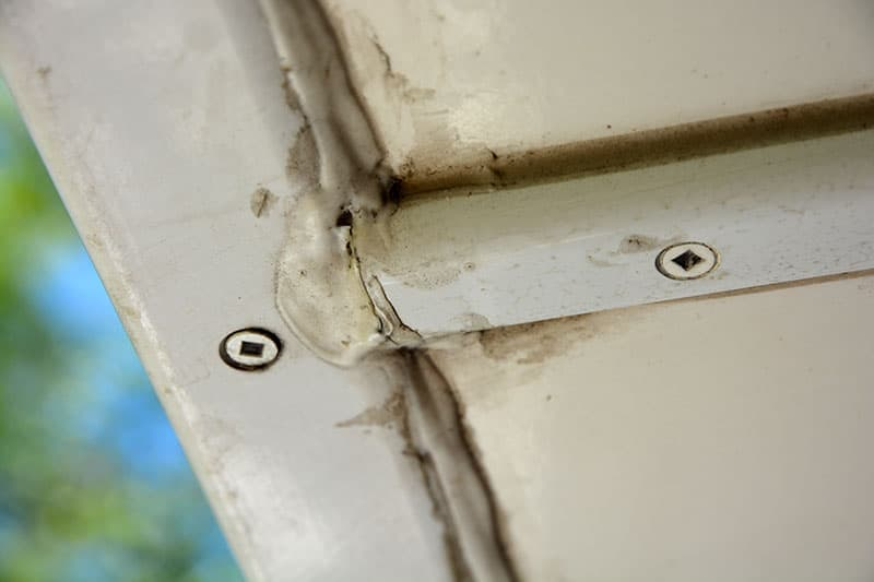 Used Camper Close Up Of Seals That Need Maintenance
