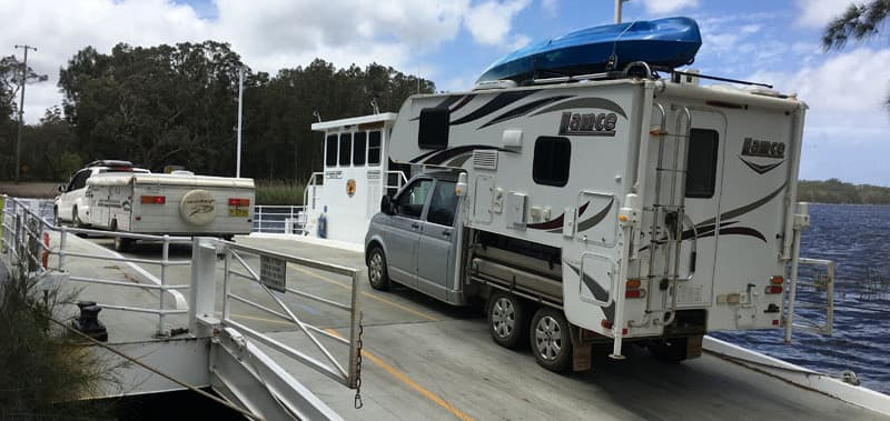 VW Transporter going on ferry ride in Australia