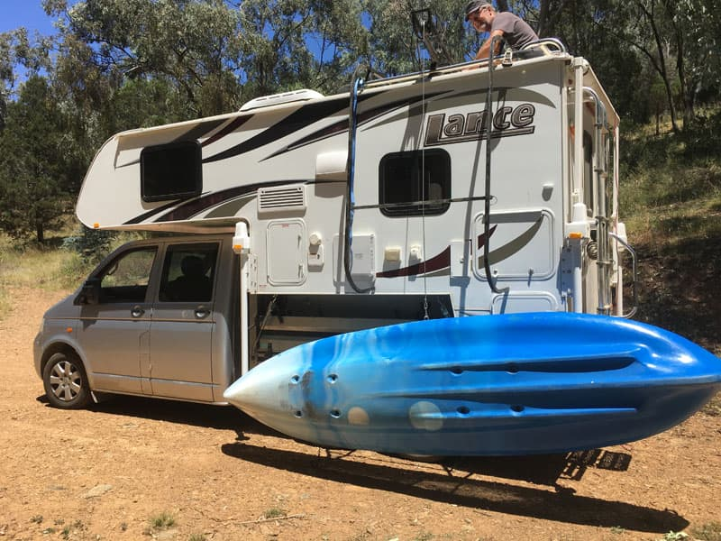 Kayak on Lance 825 truck camper