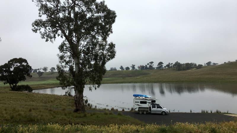 Volkswagen Transporter Truck Camper on the lake