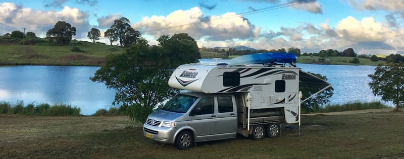 Kayak on Lance Camper in Australia