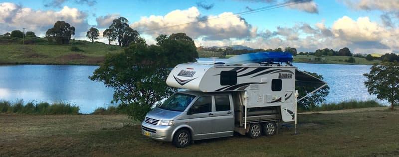 Kayak on Lance Camper in Australia