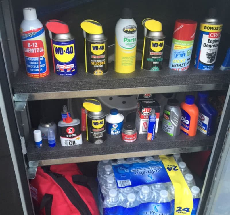 WD-40 and oils on shelf