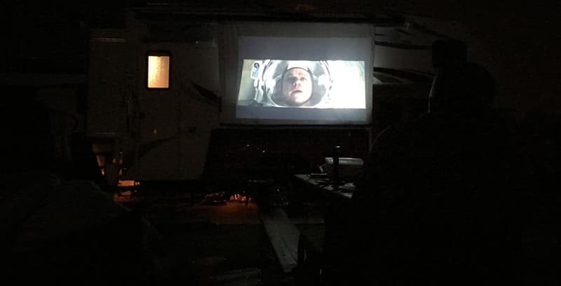 Watching The Martian on outdoor movie screen