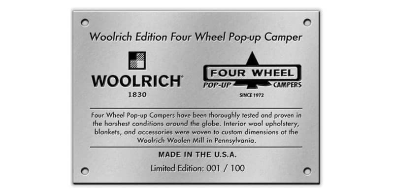 Woolrich Limited Edition Camper Number Plate