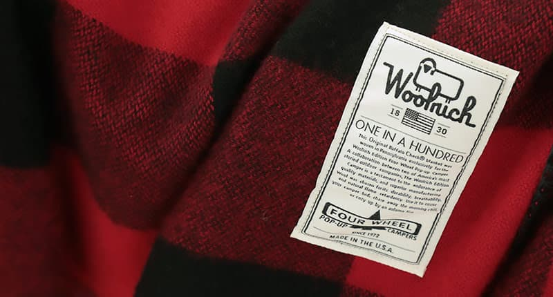 Buffalo Check Woolrich wool blanket tag