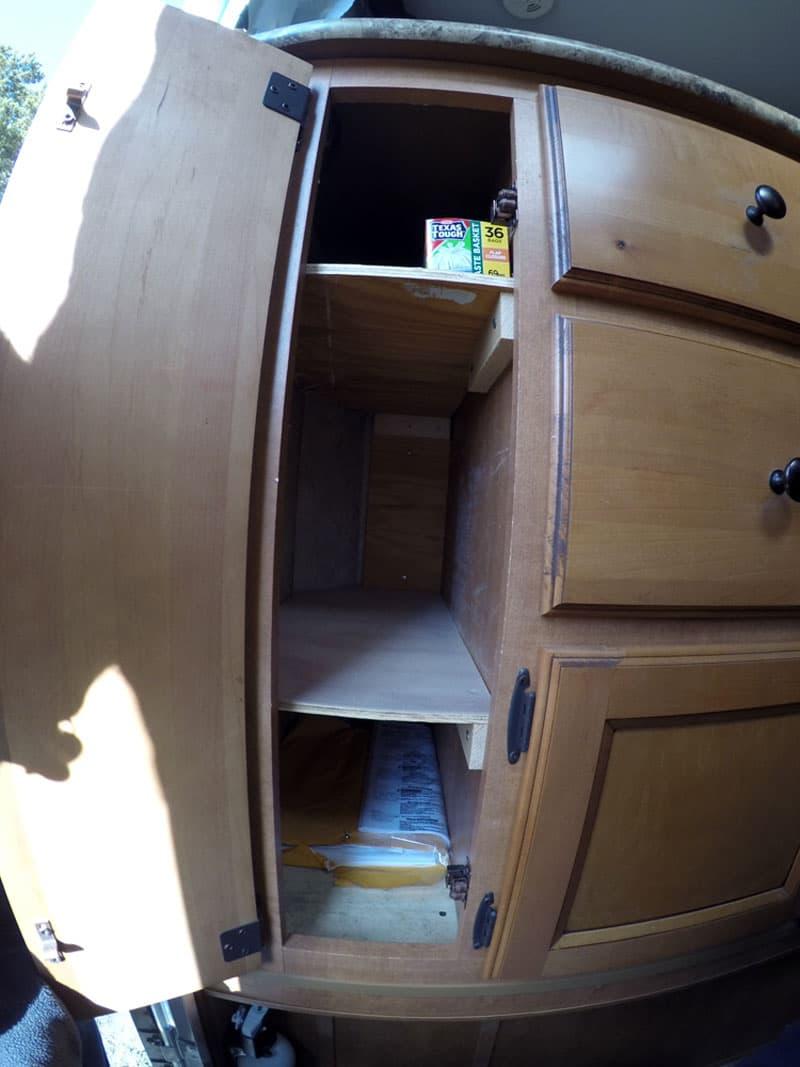 added storage shelves pop up camper