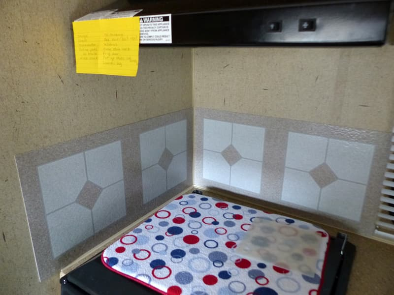 Back splash behind stove of camper