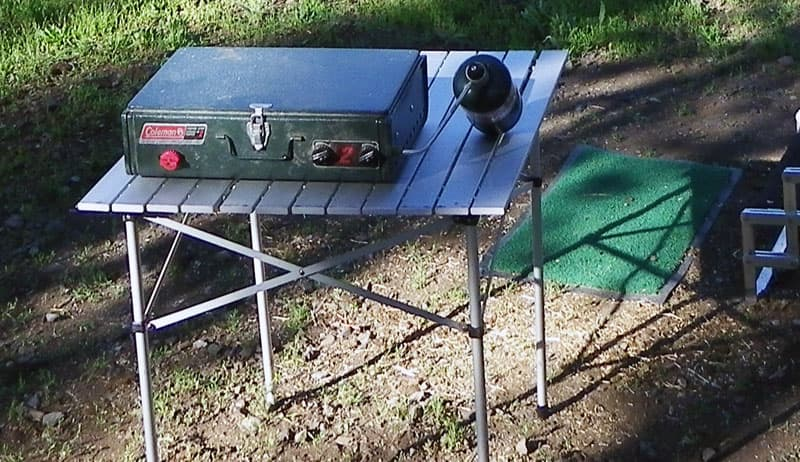 Cabelas table with Coleman grill