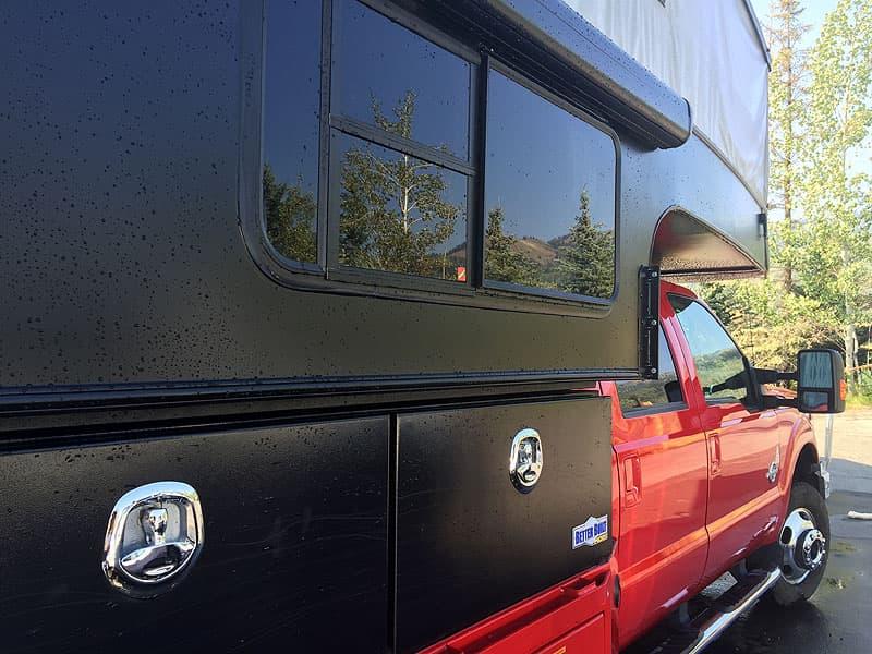 dull black color on pop-up truck camper