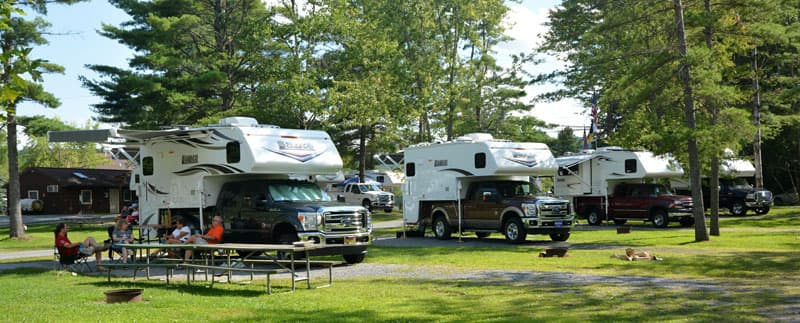 Truck campers at Lake George Escape Campground, New York