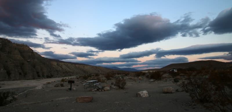 Death Valley campground dramatic clouds
