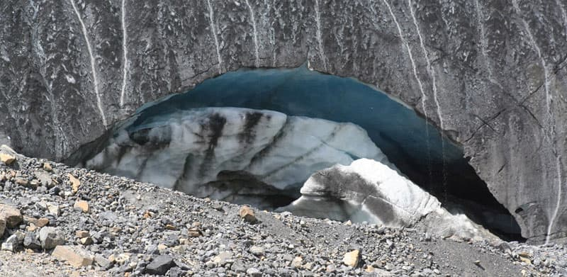 Cave-in under the Athabasca Glacier