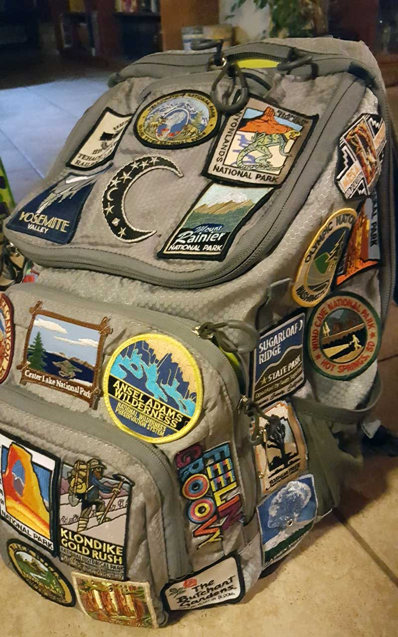 Collecting patches on a backpack