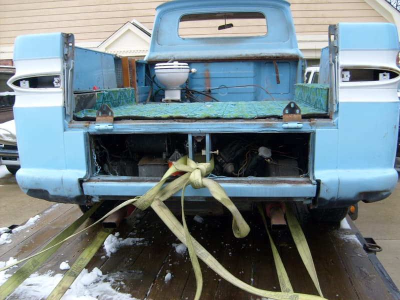 Corvair truck with toilet