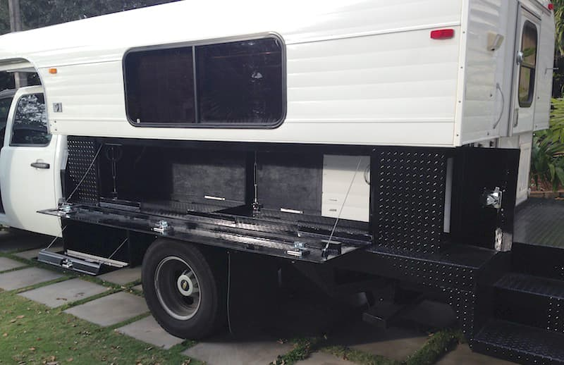 Flatbed storage compartments on Chevy 3500
