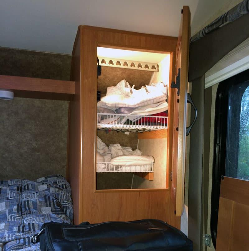 Front clothes storage shelves